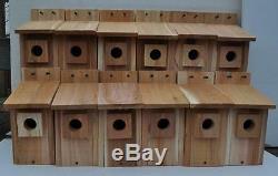 12 WESTERN BLUEBIRD BIRD HOUSES NEST. HOLE SIZE 1 9/16. Free shipping handmade