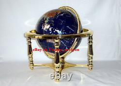 14 Blue Ocean Gold 4- leg table stand Gem MOP Gemstone World MAP globe