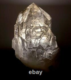 18.8 kg cathedral quartz crystal with custom iron stand. Sapo mine. NO SHIPPING