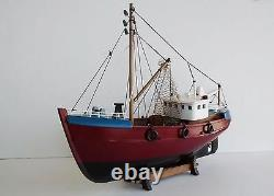 18 Fishing Boat Wooden Ship Vessel Handcrafted Model Fully Assemble W Stand New