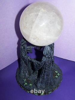 3 Goddesses Very Unique Ball Stand And Real100mm Quartz Crystal Ball-free Ship