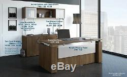 4 PIECE DESK SET Adjustable Stand Up Desk and Storage and File Cabinet and Hutch
