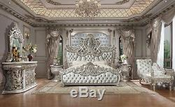 5 Pc Formal Bedroom Set Dresser Mirror 2 Night Stands King Size Bed Ships Free