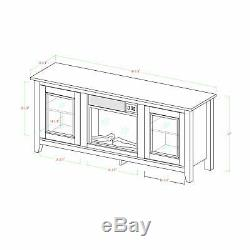65 Wood Media TV Stand Console with Fireplace Traditional Brown FREE SHIPPING