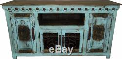 67 inch Turquoise Finish Rustic Tv Stand 36 Inch High Solid Wood Free Shipping