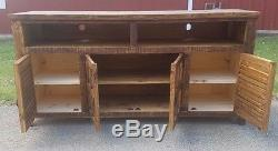 72 inch Rustic Rough Cut TV Stand 4 Doors Western Solid Wood Free Shipping