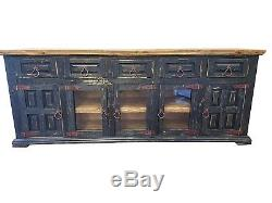 80 in Black Distress Finish Rustic Tv Stand High Solid Wood Free Shipping