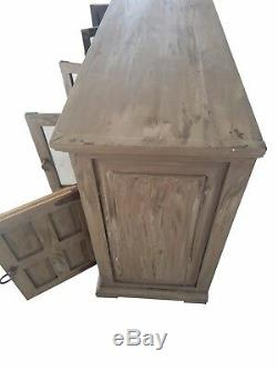 80 in Grey Distress Finish Rustic Tv Stand 32 Inch High Solid Wood Free Shipping