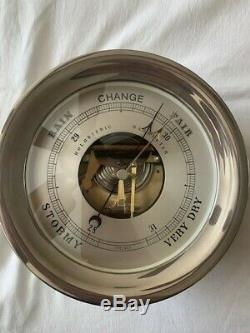 Chelsea Clock 8 1/2 Ship's Bell Barometer Nickel Finish with Stand