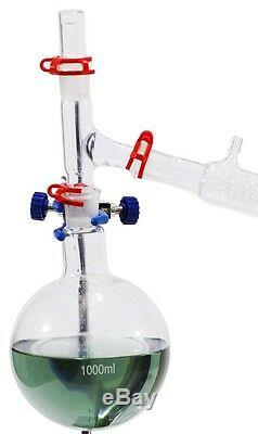 Complete Vacuum Distillation Glassware Set withstands, clamps. Fast shipping