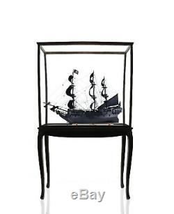 DISPLAY STAND CASE for Tall Ship Yacht Boat Models Decor Wood & Plexiglass Floor