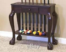Deluxe Ball & Claw Floor Billiard Pool Cue Stand With Drawer Free Shipping