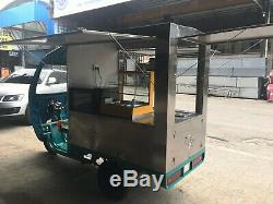 Electric Tricycle Coffee Concession Stand Trailer Pastry Display Case Ship BySea