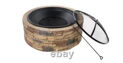 (FREE SHIPPING) NO TOOLS NEEDED Brand New 35 Round Cast Stone Fire Pit Firepit