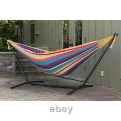 Hammock 9 ft. Double Cotton Adjustable Hooks with Tri-beam Stand in Tropical