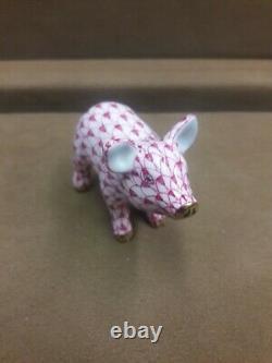 Herend, Little Pig Standing Raspberry Fishnet, #05352, Brand New, Free Shipping