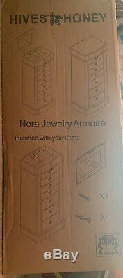Hives and Honey Nora Standing White 8-drawer Jewelry Armoire Fast Free Shipping