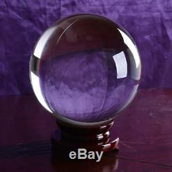 Huge Glass Ball K9 Crystal Ball Purity Clear 300mm with Wood Stand Ship From USA
