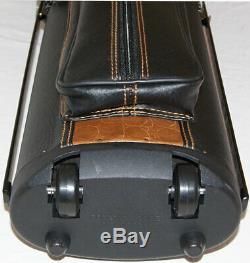 J&J PC35X-4-WL 3x5 Pool Cue Case Stand & Wheels Black &Tan FREE SHIP