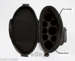 J&J PC35X-WL 3x5 Pool Cue Case STAND & WHEELS Black & Brown FREE SHIP