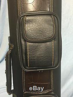 J&J Stand Cue Case 3 Butt 5 Shaft 3x5 Croc Accents PC35X With Free Shipping