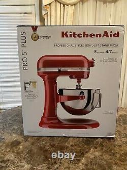 KitchenAid Pro 5 Plus 5 Quart Bowl-Lift Stand Mixer Empire Red FREE SHIPPING