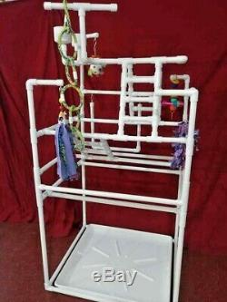 LARGE Parrot FLOOR PERCH \ Gym \ Stand w Raised catch Pan FREE SHIPPING