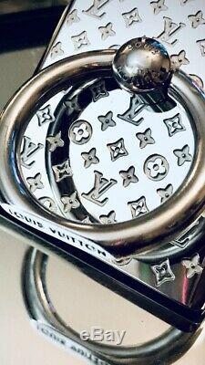 LOUIS VUITTON Nanogram Phone Ring Stand Holder-Silver M67285 Free Shipping