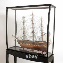 Large Tall Ship Model Boat Wood Display Case 40 x 69 Cabinet Stand with Legs New