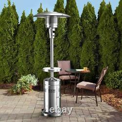 Member's Mark Patio Propane Heater with LED Table & Wheels! Stainless SHIPS TODAY
