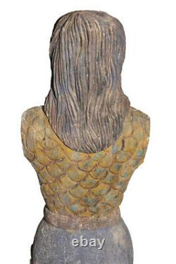 Mermaid, Ships Mast Head, Hand Carved, Large Standing Mythical Decor