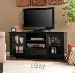 NEW 52 Black Media Console Cabinet TV Stand with Glass Doors FREE SHIPPING