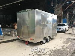 New 3MX1.8M Stainless Steel Concession Stand Trailer Kitchen +Stove Ship By Sea