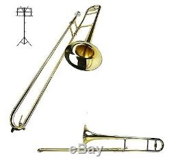 New B Flat Gold Brass Trombone with Case and Free Music Stand Ships From USA