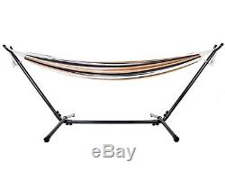 New Beige Brown White Double Hammock with Steel Stand & Carry Bag Free Shipping