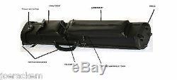 New J&J 4x8 PC48X-WF Black Pool Cue Case with Wheels & Stand FREE US SHIP