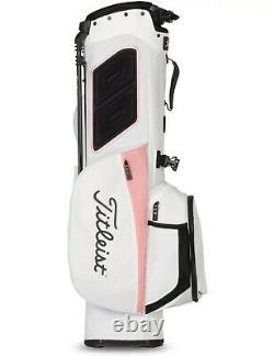 New Titleist Womens 4 Stand Golf Bag Pink and White 2021 Free Shipping