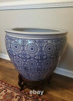 Oriental Chinoiserie 20 Blue White Fish Bowl Planter Rosewood Stand Free ship