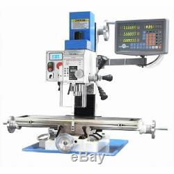 PM-25MV BENCH TOP MILLING MACHINE with3-AXIS DRO STAND VARIABLE SPEED SHIPS FREE