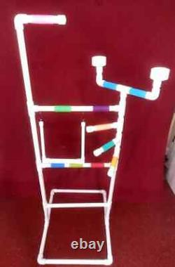 PVC Parrot Play Stand 3/4 DELUXE LARGE FLOOR PERCH With SWINGFREE SHIPPING