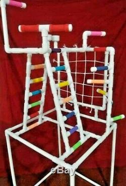 PVC Parrot Play Stand Our LARGER COMBO Play Gym FLOOR PERCH FREE SHIPPING