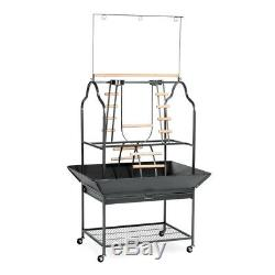 Prevue Parrot Play Stand Black Hammertone 30x22x57 Inches. Free Shipping