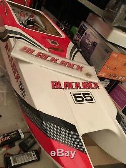 Pro Boat BlackJack 55 RTR Deep-V Gas Boat Black Red zenoah With Stand Fast Ship