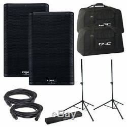 QSC K10.2 2-Powered Speakers & 2 Totes with 2 Stands+Bag+2 Cables FREE SHIP NEW