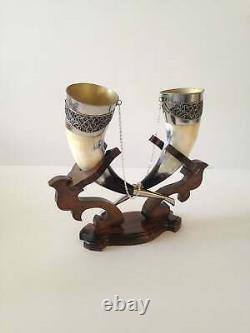 Real Viking Drinking Horn Mug With Wooden Stand For Wedding Gift Fast Shipping