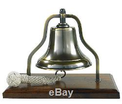 Ship's Purser's Bell Brass 9.5 Bronzed Antiqued Finish Tabletop Wood Stand New