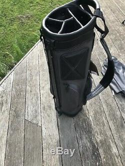 Sun Mountain Leather Canvas Golf Stand Bag Carry Cart Black Slate Free Shipping