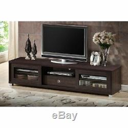 TV & Media Cabinet Fits up to 70 Espresso Glass Sliding Doors Silver SHIPS FREE