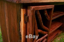 Table TV Media Stand Cabinet Adirondack Log Cabin Art Furniture FREE SHIPPING