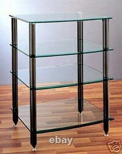 VTI AGR404 Black Glass Audio Rack 4 shelves, Brand New, Free Shipping